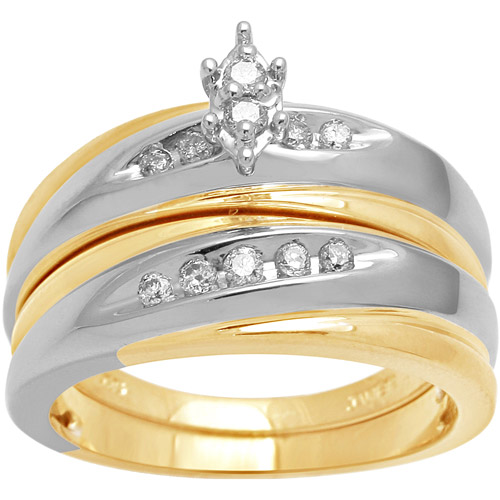 1/7 Carat T.W. Diamond 18kt Yellow Gold over Sterling Silver Bridal Set