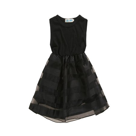 Babula Baby Girls Black Sleeveless Organza Princess Tutu Dress (Black Dresses Girls)