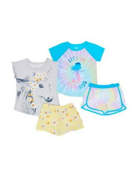 Wonder Nation Exclusive Girls 4-Piece Unicorn Mermaid Graphic Pajama Shorts Set, Sizes 4-18