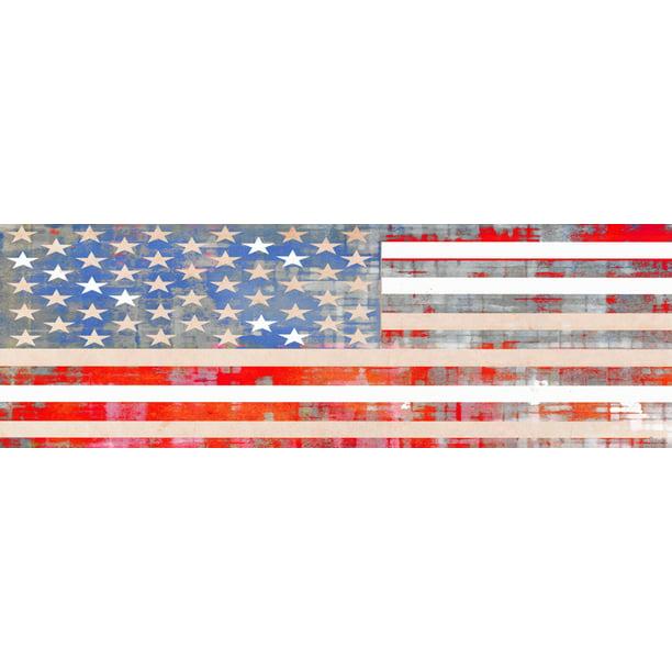 Parvez Taj Flag Wood Art: Parvez Taj Usa Flag Art Print On Premium Canvas