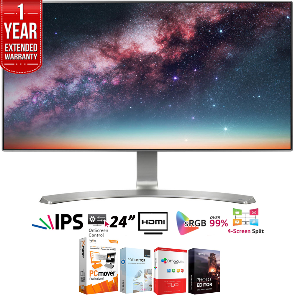 "LG 24MP88HV-S 24"" Full HD IPS LED Neo Blade III Monitor (2.5mm Slim Bezel) + Elite Suite 18 Standard Editing Software Bundle + 1 Year Extended Warranty"