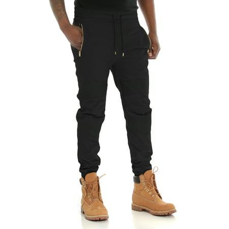 Smoke Rise Men's Zipper Pockets Waxed Twill Moto Jogger Pants