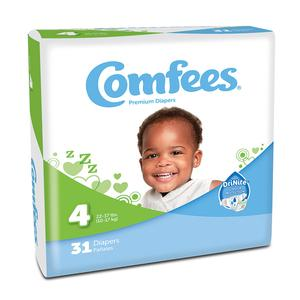Comfees Baby Diaper  Size 4 Disposable Case of 124