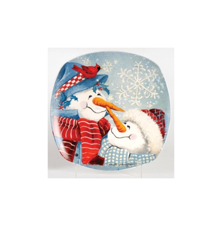 "12"" Snow Drift Carrot Nose Snowmen Round Porcelain Christmas Dining Plate"