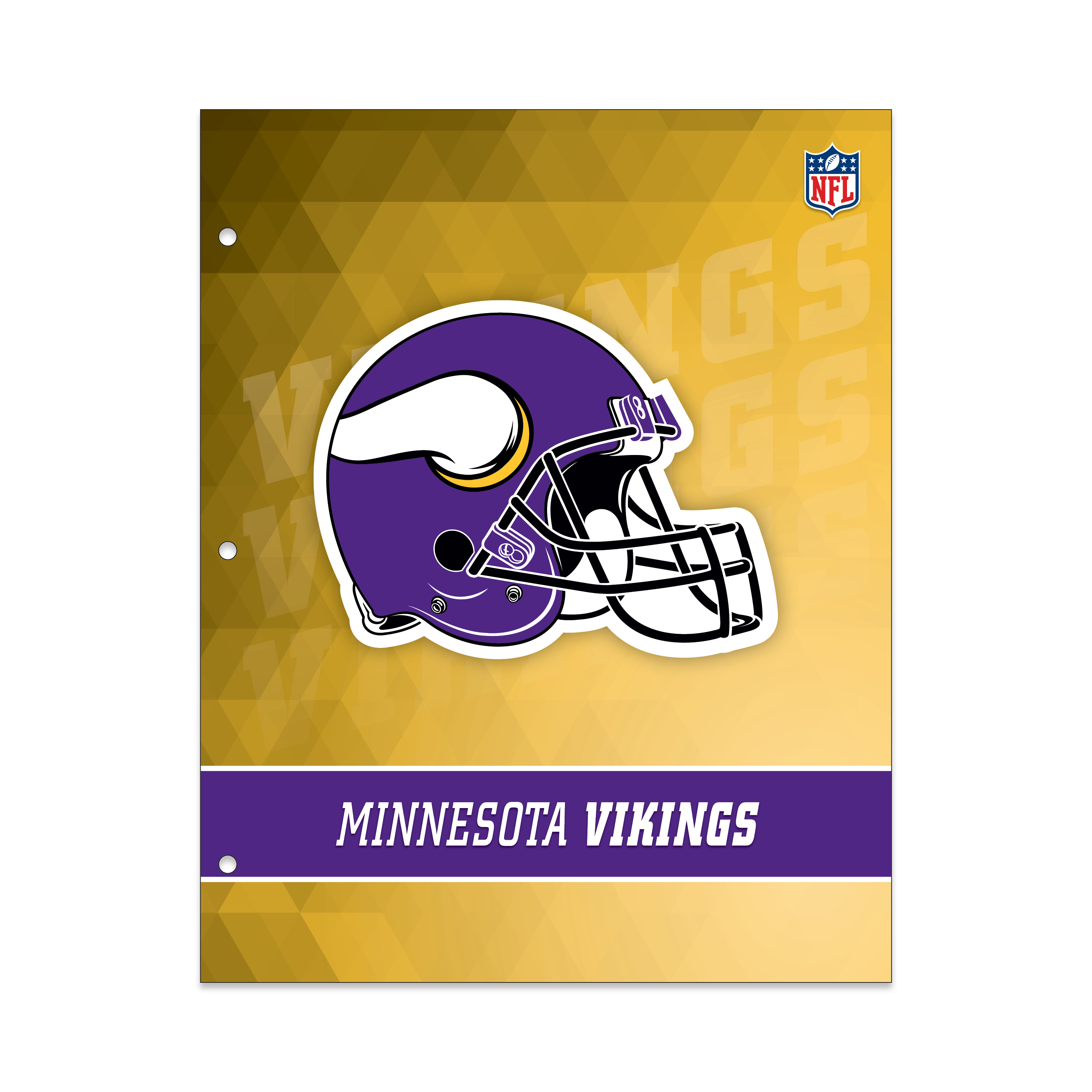 NFL Minnesota Vikings 2 Pocket Portfolio, Three Hole Punched, Fits Letter Size