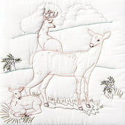 "Jack Dempsey Deer Family Stamped White Quilt Blocks, 18"" x 18"""