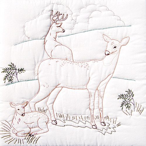 "Jack Dempsey Deer Family Stamped White Quilt Blocks, 18"" x 18"