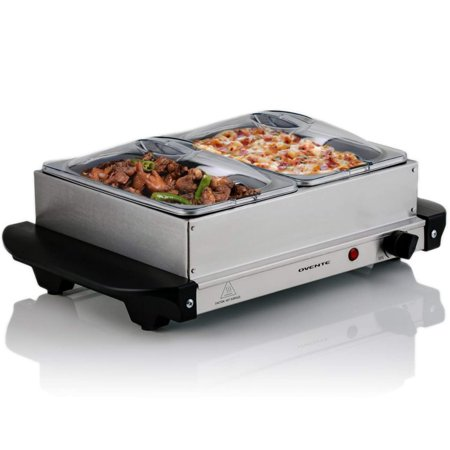 Ovente Electric Buffet Server with Warming Tray, Two Stainless Steel Chafing Dishes 1L Warming Pan, 150W, Silver (FW152S)