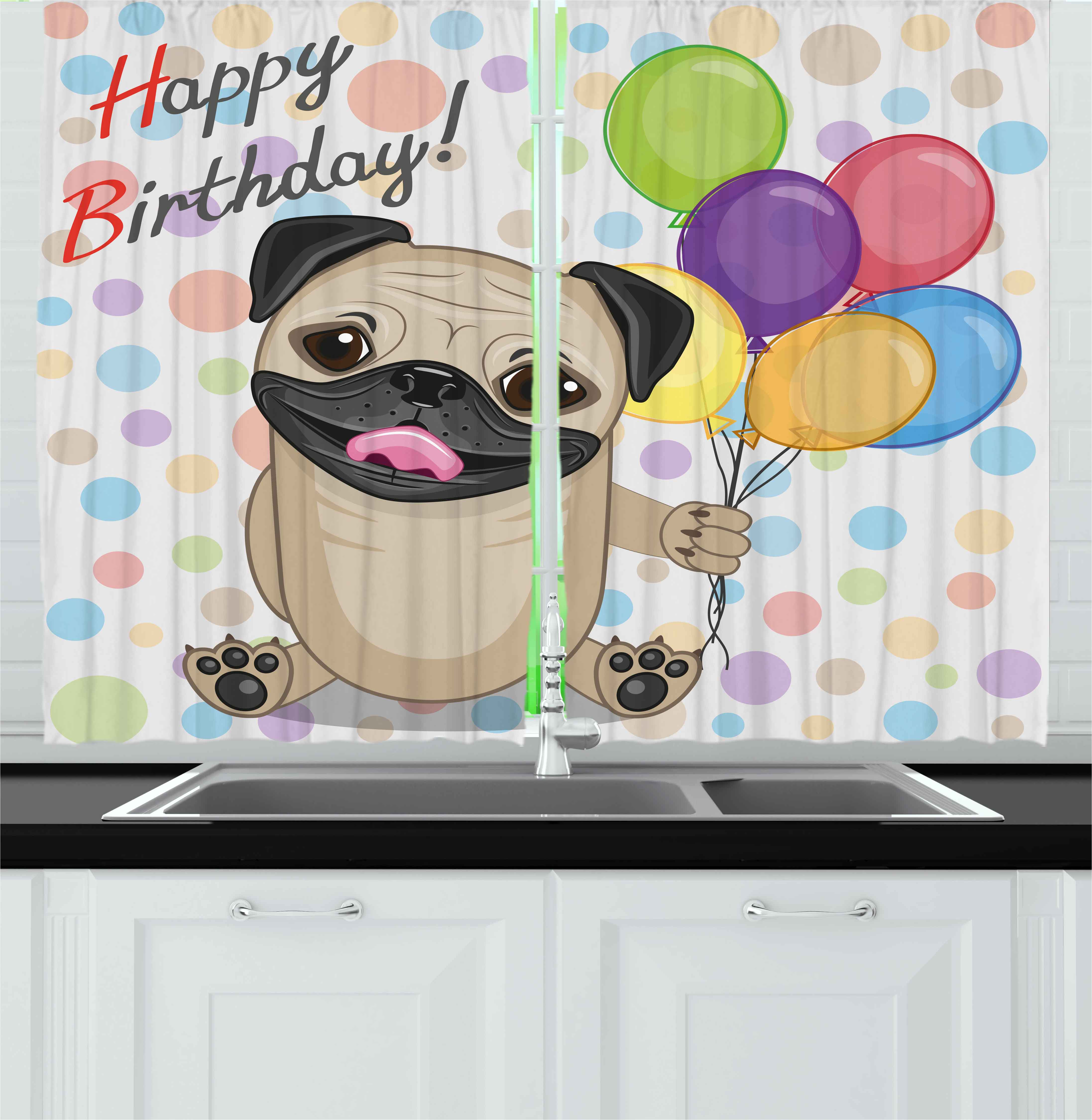 Kids Birthday Curtains 2 Panels Set, Animal Cute Dog Smiling Pug with Party Balloons Greeting Card Inspired Design, Window Drapes for Living Room Bedroom, 55W X 39L Inches, Multicolor, by Ambesonne