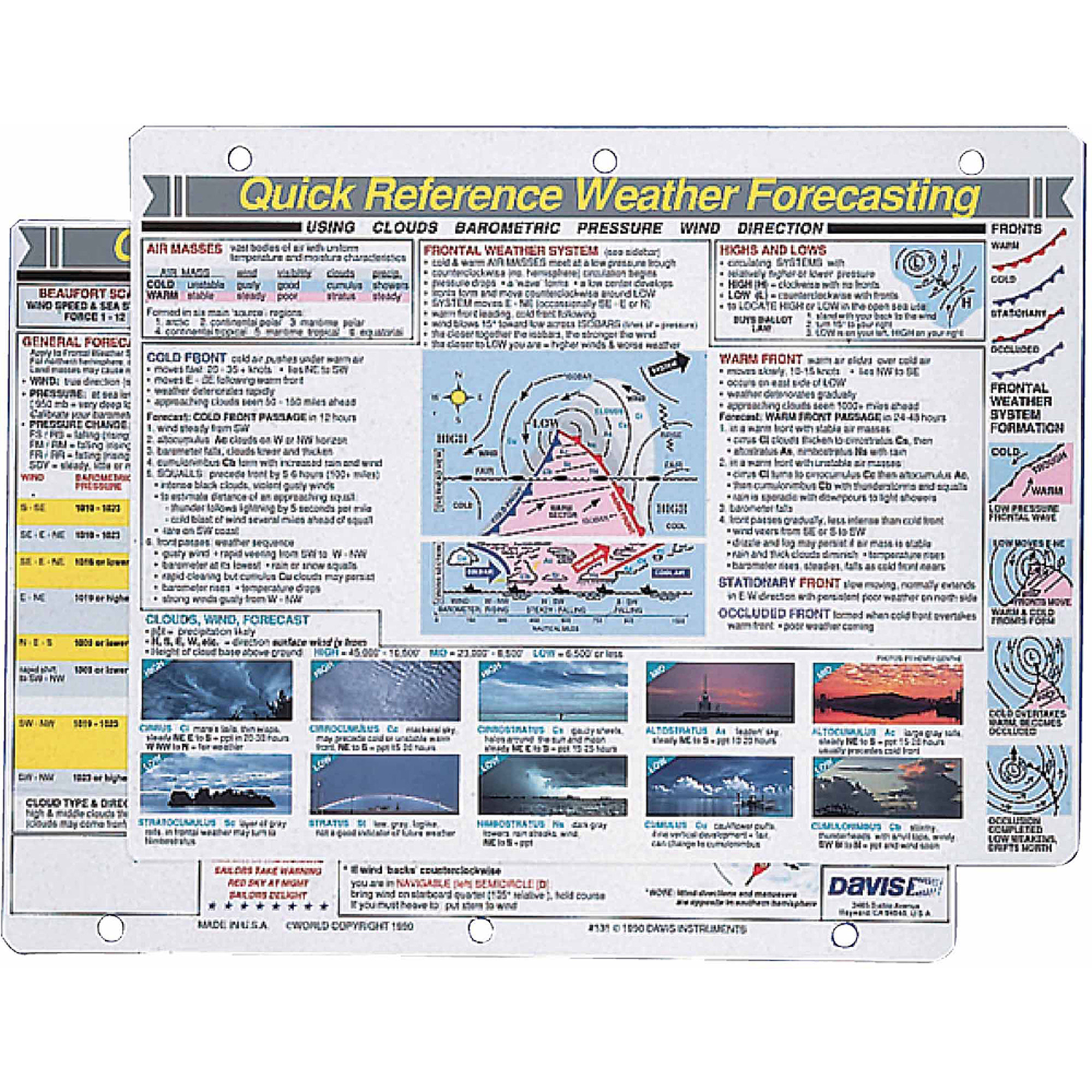 Davis 131 Weather Forecasting Quick Reference Card