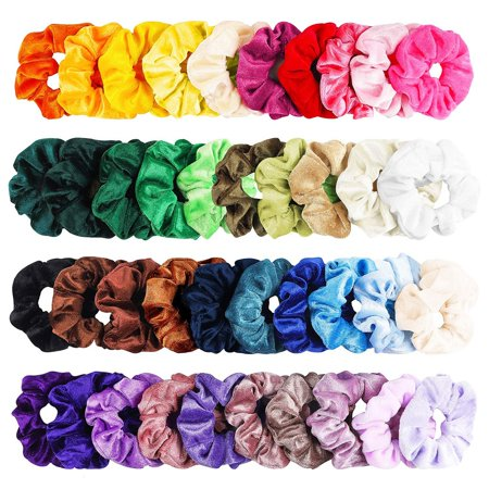 40 Pcs Hair Scrunchies Velvet Elastic Hair Bands Hair Ties Ropes
