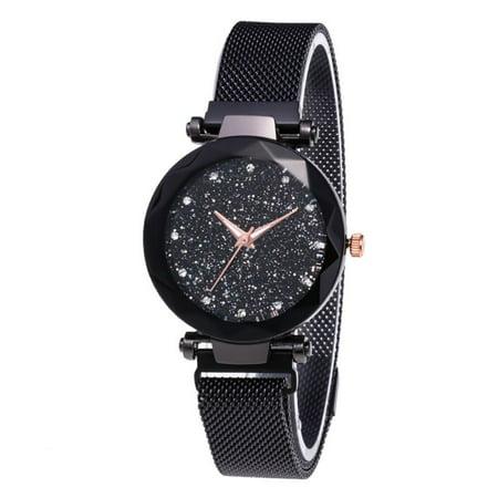 weefy Women Watch Starry Luxury Diamond Dial Women Bracelet Watches Magnetic Buckle Ladies Diamond Dial Black Case