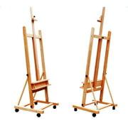 Adjustable DHJ-02 Large H-Frame Durable Wood Studio Easel W/Caster US Art Supply