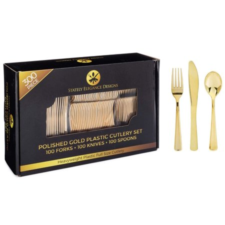 Stately Elegance Designs 300 Piece Gold Plastic Silverware Set â?? Includes 100 Forks, 100 Knives and 100 Spoons â?? Looks Like Gold Cutlery â?? Heavy Duty Durable Disposable Flatware Set 300 Piece Se](Cheap Plastic Silverware That Looks Real)