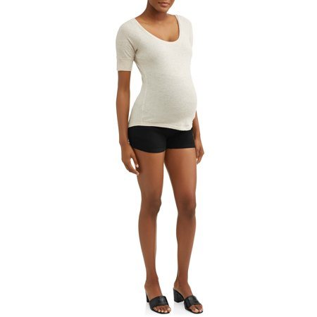 Oh! Mamma Maternity Full Panel Twill Shorts - Available in Plus Sizes (A-line Maternity Shorts)