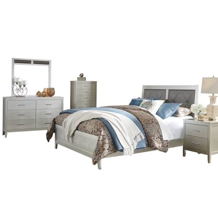 Ashley Furniture Olivet 5 PC Bedroom Set: Full Panel Bed 1 Nightstand  Dresser Mirror Chest Silver
