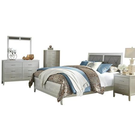 Ashley Furniture Olivet 5 PC Bedroom Set: Full Panel Bed 1 Nightstand  Dresser Mirror Chest Silver