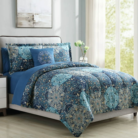 Bold Printed Damask Reversible 8-Piece Bed In A Bag Bedding Set, Queen ()