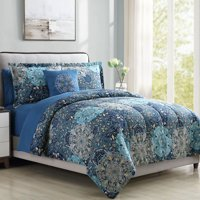 Bold Printed Damask Reversible 8-Piece Bed In A Bag Bedding Set, Queen