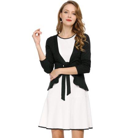 302dcaa21374 Women s Tie Front Ruffled Hem Crop Knit Cardigan Black M (US 14) - image ...