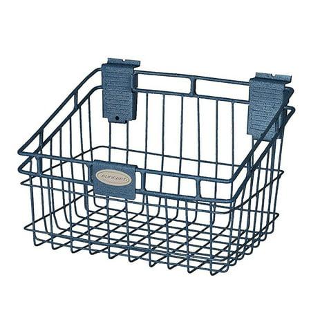 Suncast Storage Trends 8 Inch x 12 Inch Slatwall Mounted Metal Wire Basket, Blue