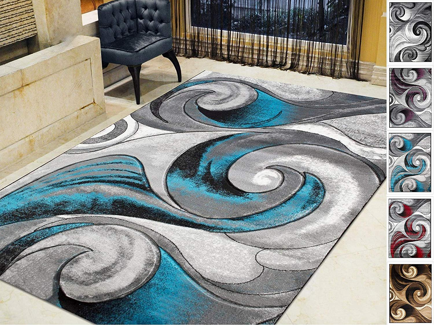 Handcraft Rugs Swirls Abstract Design Modern Contemporary