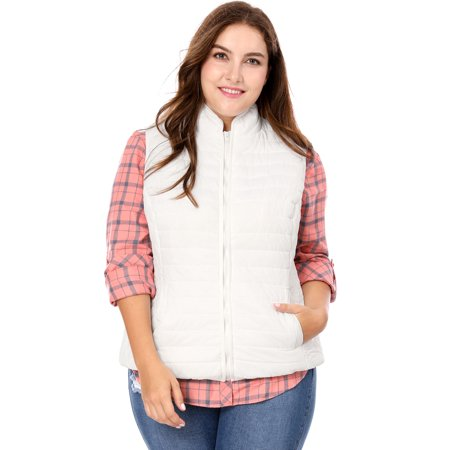 Unique Bargains Women's Plus Size Zip Up Stand Collar Quilted Padded Vest