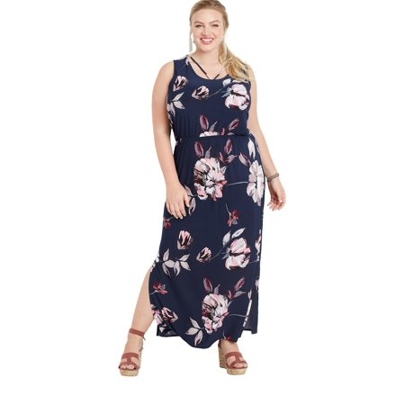 Plus Size Strappy Neck Floral Maxi Dress