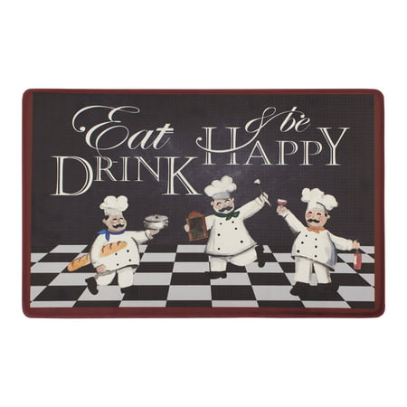 Chef Gear Eat Drink and Be Happy 20 x 32 in. Gelness Mat, Black