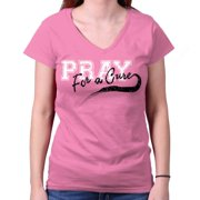 Breast Cancer Awareness Shirt Pray for Cure Think Pink Ribbon Junior V-Neck Tee