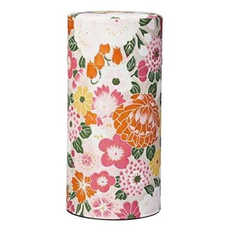- Ryu Mei Hyakka Japanese Tea Canister | Imported Japanese Tea Storage Tin | 202H03 | Pink Orange Yellow White Flower