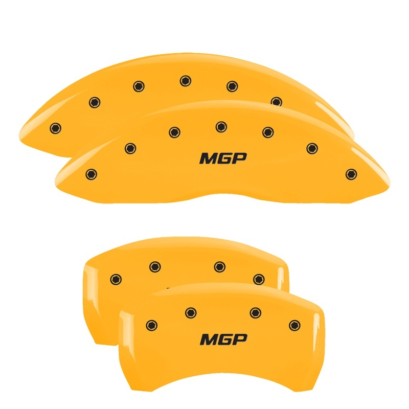 MGP 4 Caliper Covers Engraved Front & Rear Lincoln Yellow finish black ch