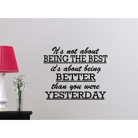 #2 Its not about being the best Its about being better than you were yesterday motivational quote student sport football inspirational family love quote saying wall art lettering sign room decor - Qoutes About Halloween