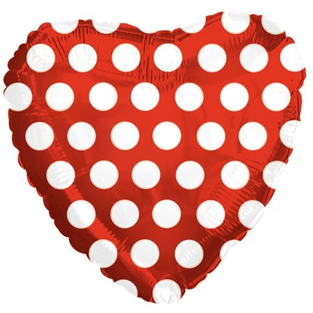 CTI Polka Dot Heart Shaped Valentine 18' Foil Balloon, Red White](White Polka Dots)