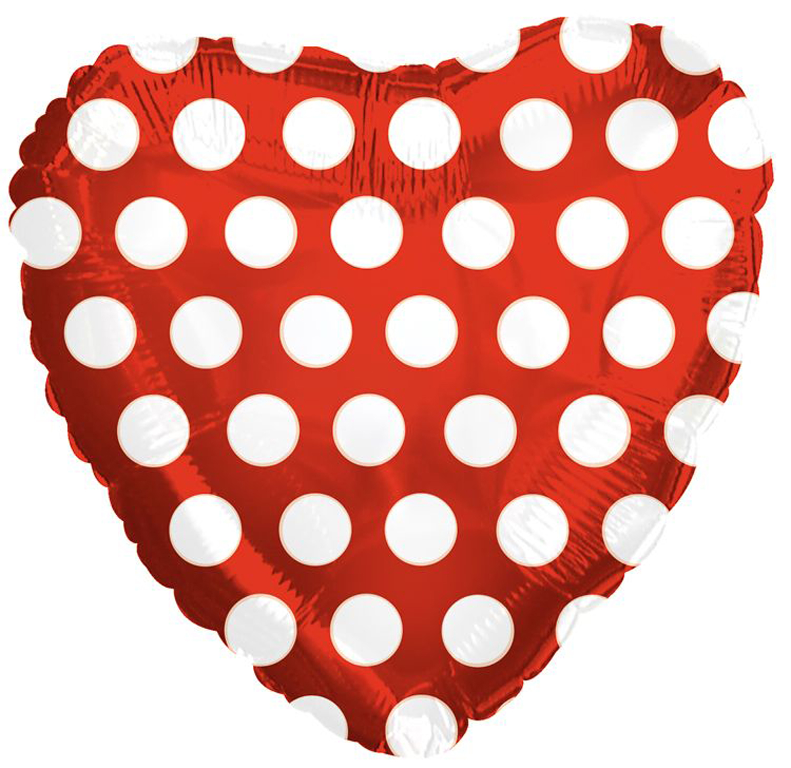 CTI Polka Dot Heart Shaped Valentine 18' Foil Balloon, Red White