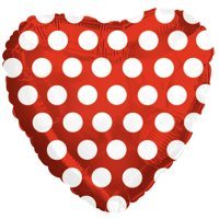 CTI Polka Dot Heart Shaped Valentine 18' Foil Balloon, Red White