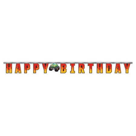 Creative Converting Monster Truck Rally Jointed Banner Lg (Monster High Birthday Banner)