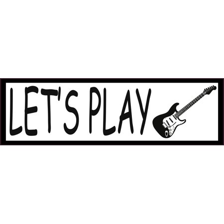 10in x 3in Lets Play Electric Guitar Rock Music Magnet Magnetic Vehicle