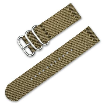 deBeer Watchbands - 18mm Military RAF Style Ballistic Nylon 2-Piece Watch Band - Khaki