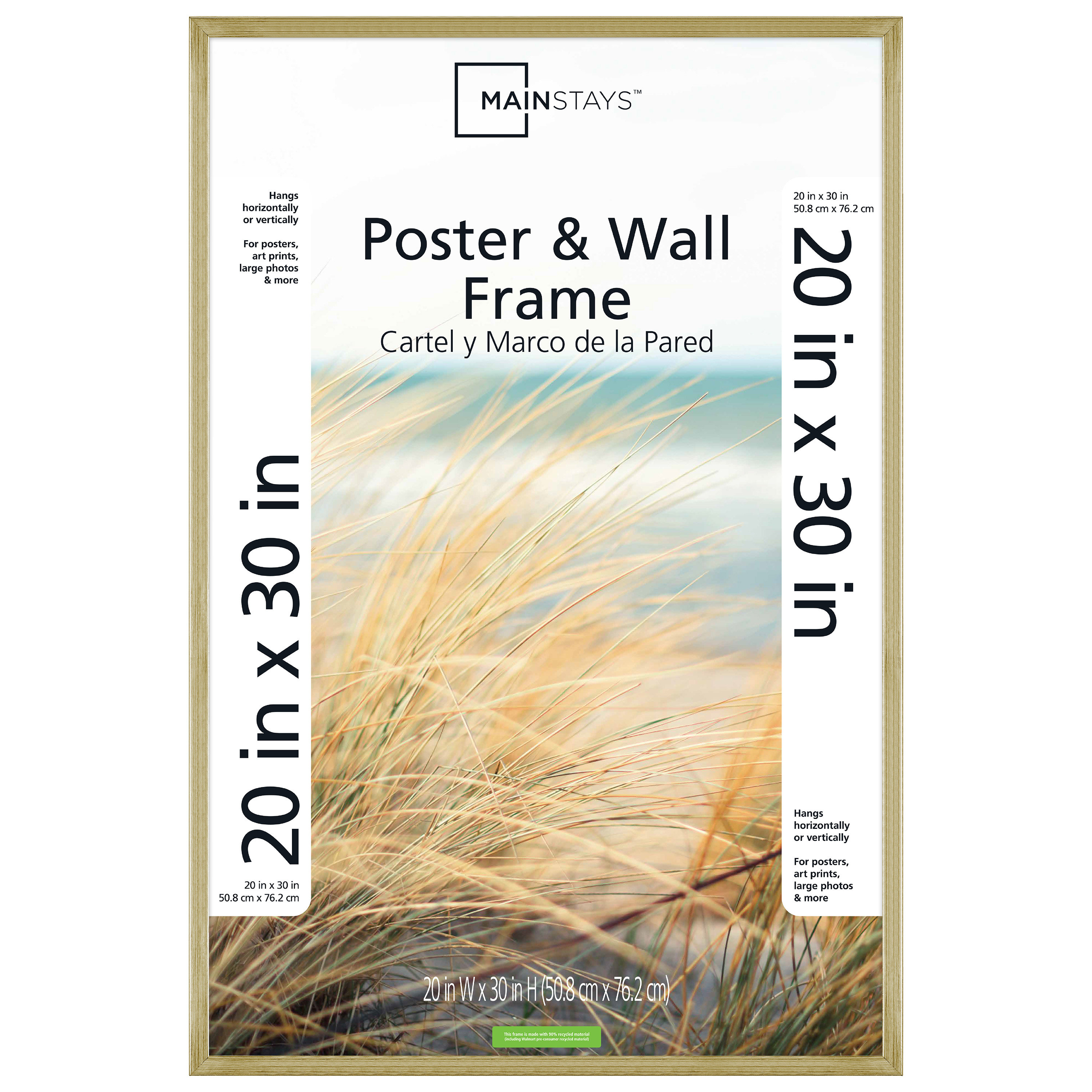"Mainstays 20x30"" Brass Metallic Poster and Picture Frame"