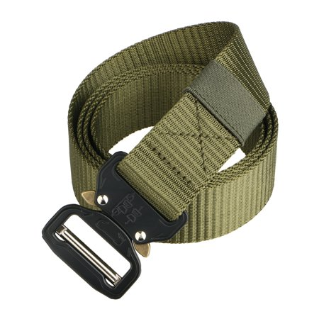 Men's Tactical Belt, Adjustable Military Style Heavy Duty Webbing Belt, Nylon Canvas Breathable Military Tactical Men Waist Belt (Black/Green/Brown)