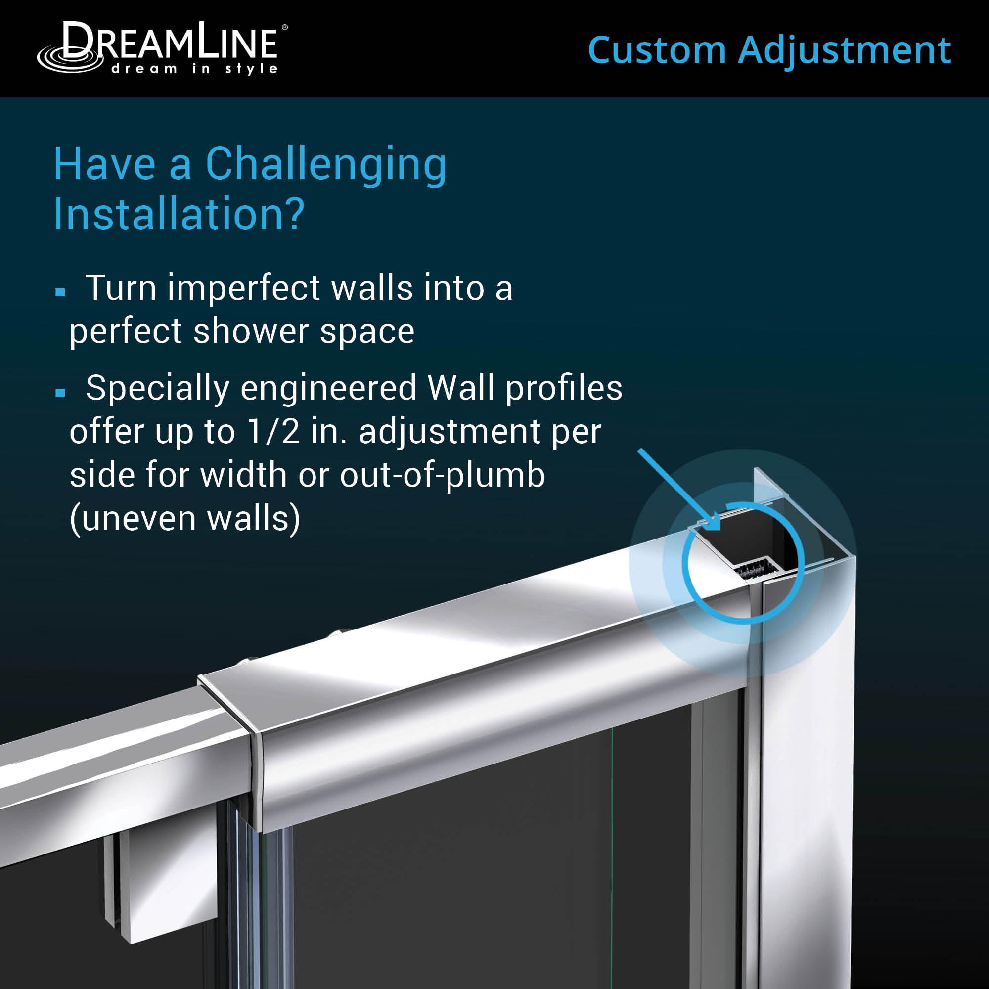 Dreamline Flex 34 1 2 In D X 44 48 In W X 72 In H Semi Frameless Pivot Shower Enclosure In Brushed Nickel Walmart Com Walmart Com