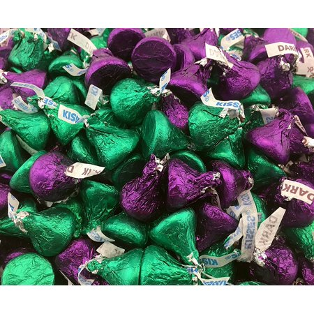 Hershey's Kisses, Mix Milk Chocolate and Dark Chocolate Kisses Purple, Green Foil (Pack of 2 Pound)