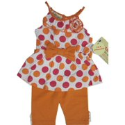 Baby Girls Orange Pink Dotted Ruffle Flower Bow 2 Pc Pants Set 12-24M