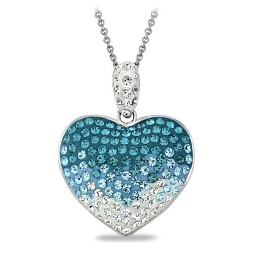 Silver tone Light Blue Ombre Crystal Heart Necklace with Swarovski Elements