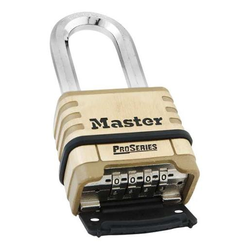 MASTER LOCK 1175D Combination Padlock, Bottom, 4 Dial, Brass