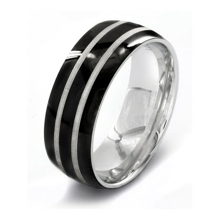 Stainless Steel Polished Etched Double Striped Black Ring (8mm)