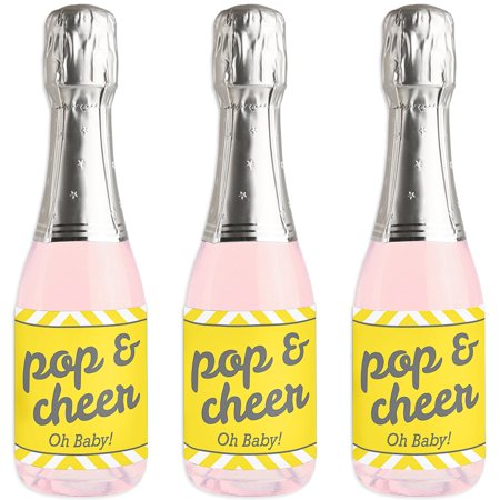 Hello Little One - Yellow and Gray - Mini Wine and Champagne Bottle Label Stickers - Baby Shower Favor Gift - Set of 16