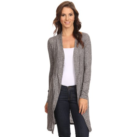 Chunky Ribbed Cardigan (Women's Ribbed Cardigan Athleisure Long Open Front Small to 3XL Made in)