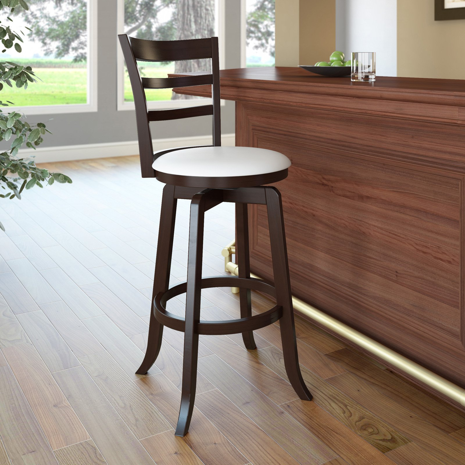 CorLiving Woodgrove Three Bar Design 29 in. Wood Bar Stool in Espresso and White Leatherette